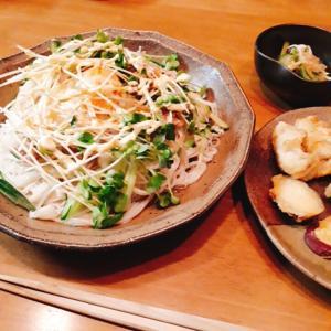 サラダ素麺と茹で栗