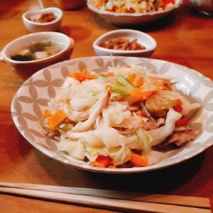 野菜たっぷり皿うどんと、キノコ類冷凍