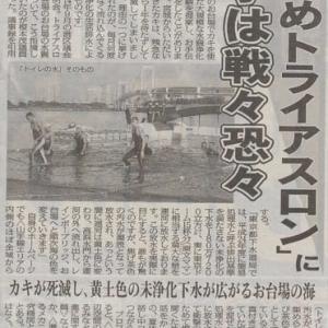 お台場海浜公園」の 「糞尿海水浴場」がオリンピックのトライアイスロン会場となる!!