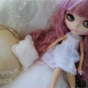 白いキャミソール風ドール服*作りました~♪
