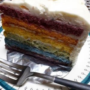 レインボーなケーキに挑む