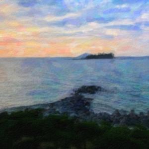 九州法事旅行2020夏その6@糸島市の喜八荘で夕陽と離島を眺める
