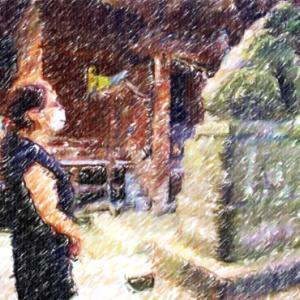 諏訪神社の丸いものを撫でに来ました@消えゆく桐ヶ丘の団地