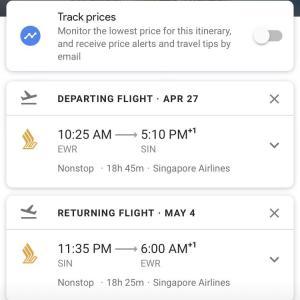 シンガポール航空 ニューアーク(EWR)ーシンガポール直行便 プレエコが1,100ドル!