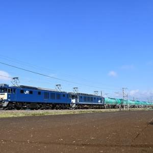 本日の撮影 中央西線貨物8084レ EF64-1034(原色)+1046(広島更新色)号機より