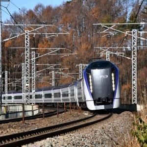 11月30日撮影 立場川鉄橋にてE353系「あずさ」より