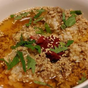 サバほぐし(瓶)と玄米ごはんで作ったルイボス茶漬けが意外と美味しかった!