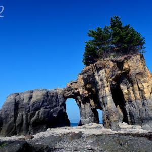朝のくぐり岩(順光)