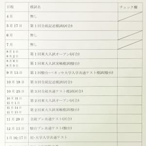 模試・年間スケジュール(2020)
