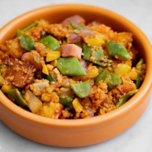 モロッコいんげん・ベーコン・キヌアのミガスのレシピ