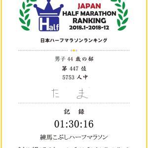 ハーフマラソンランキングと東京マラソンの記録証