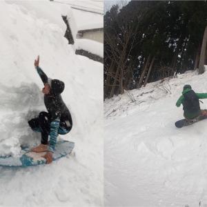 【スノボでサーフィン!!】雪壁バンクでスノーサーフしてきました!!
