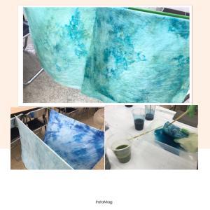 ソーピングで色を・二度染め★ キルトと異素材。
