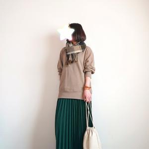 ユニクロ メンズスウェットシャツでマキシスカートコーデ