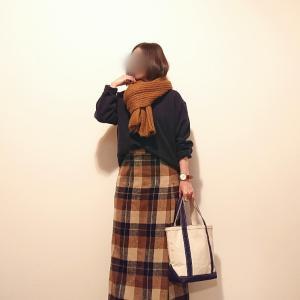 定番ニット&古着のチェック柄スカート