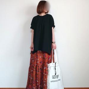 着やすくて万能なワイドカットソー×花柄スカートコーデ