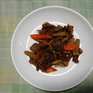 夕飯は牛肉きんぴらごぼうでした