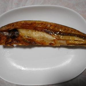 夕飯はホッケ開き焼き魚でした