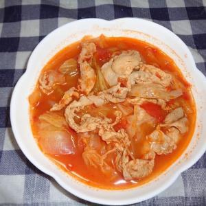 夕飯は豚トマトスープでした
