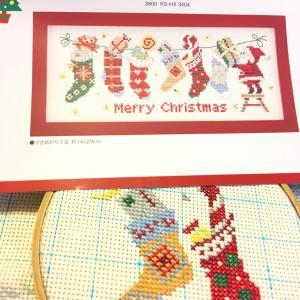 クリスマス用にちびりちびり…… クロスステッチフレーム〈サンタ&ソックス〉と、マフィン