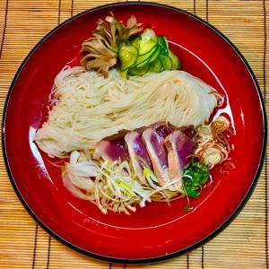 No2879薬味たっぷり鰹のたたき舞茸出汁素麺