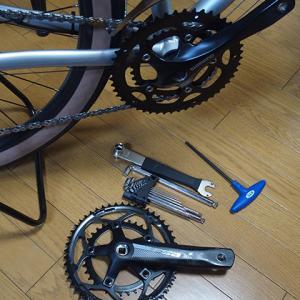 自転車のクランクセット交換・・・<フロントディレイラーの調整>甘くみてました、、、。