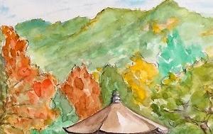紅葉が始まった奈良公園・浮見堂