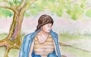 木の下の少女