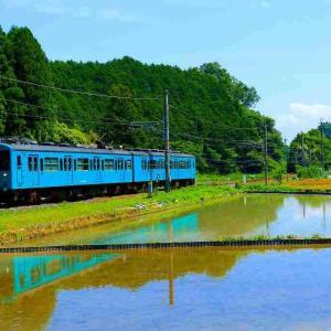 水田地帯を往く105系電車