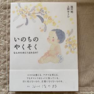 谷川俊太郎さんの帯、えがしらみちこさん装画、池川明先生のご本「いのちのやくそく」