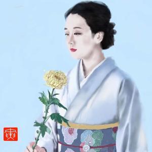 人物画 「花と美人4」