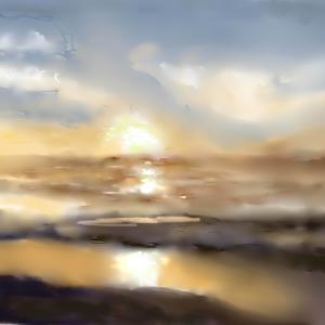 風景画 「夕焼けの海」