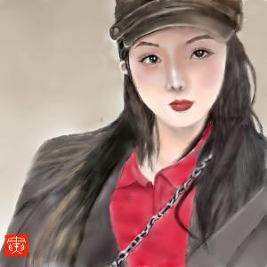 人物画 「黒髪美人」5