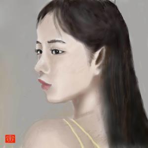 人物画「黒髪美人」