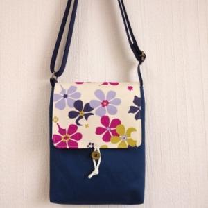 北欧風花柄フラップのショルダーバッグ/紫花