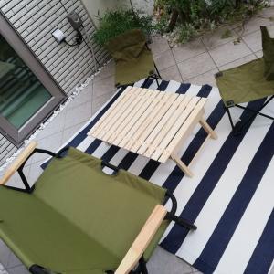 テラスの家具を一新☆デザイン性があり、出し入れが楽な軽量素材のものへ変更