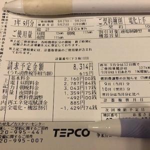 【速報】小さな平屋2019年9月分の売電・買電