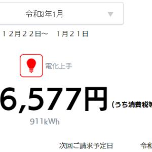 【速報】小さな平屋2021年1月分の売電・買電
