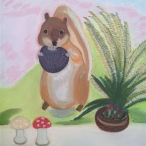 YABU氏作品(32) ビスケットを食べるリス