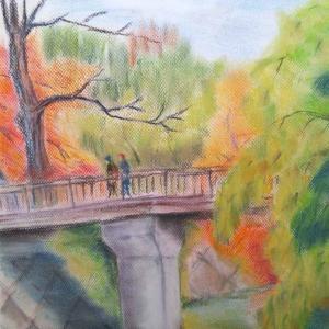 MAI氏作品(69) 秋、橋を渡る二人