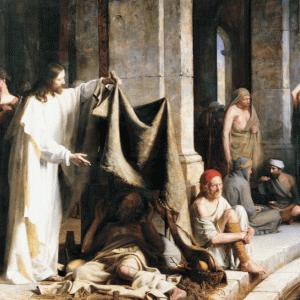 「病気で苦しむ人を癒すキリスト」 (世界保健機関WHOの旗の蛇の巻き付いた杖について