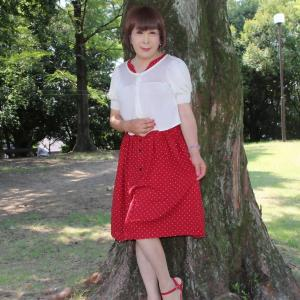 赤小ドット柄ワンピース半袖カーディガン(2)