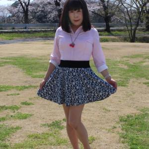 青色系のミニフレアースカート(1)