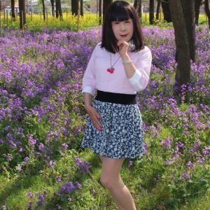 青色系のミニフレアースカート(4)