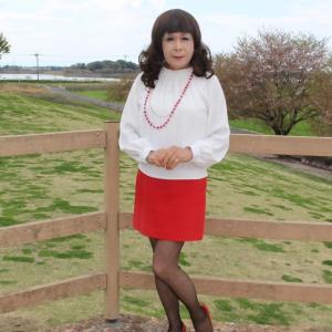 白のブラウスに赤のタイトスカート(1)