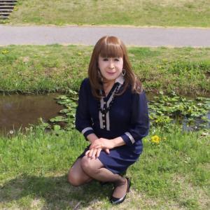 紺色シフォンワンピース(2)