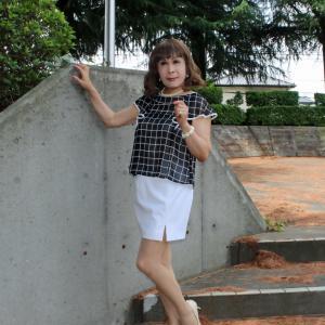 黒格子柄シフォンブラウスに白のタイトスカート(1)