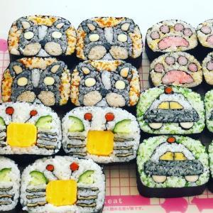飾り巻き寿司2級認定講座。後半の柄、4種類。私は、パトカーの飾り巻き寿司がとても可愛く...