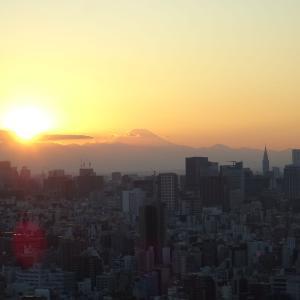 スカイツリー30階展望レストランからの富士山と夕日
