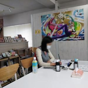 文月の墨文字教室○◯。7/18創作room rabolo 。7/20高山写真館 。
